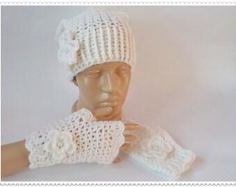 White crochet hat, White crochet gloves, Set hat and gloves, Crochet women set, Knitted women, Crochet fingerles gloves, Teen set