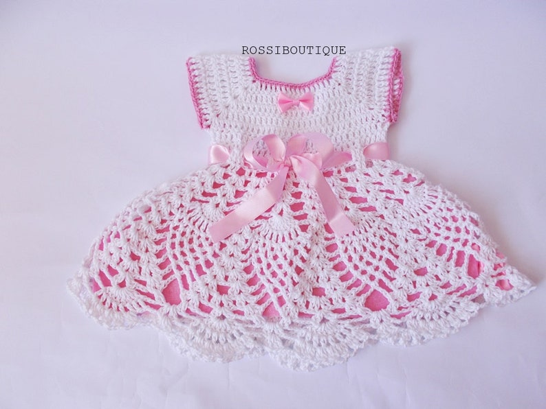 Crochet Dress Baby Outfit Newborn Dresses Christening Gown Etsy