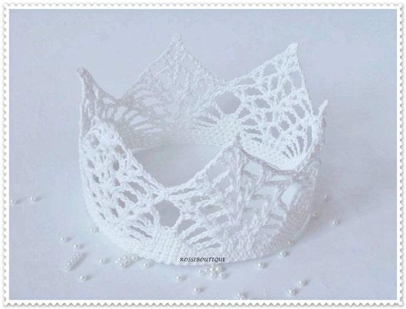 Weiße Gehäkelte Krone Häkeln Krone Tiara Stirnband Krone Etsy