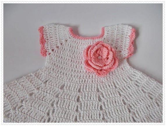 Weiß rosa Baby Kleid häkeln Taufe Kleid Neugeborene weiße Baby | Etsy