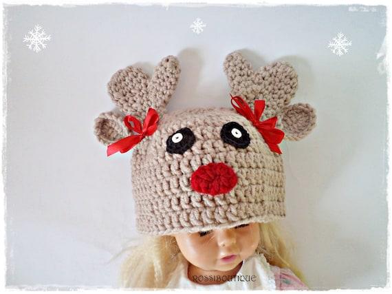 5ee5b39ff18c Crochet chapeau de Noël, tuque cerf, chapeau renne au Crochet, bonnet de  Noël de bébé, chapeau de bébé cerf, chapeau Animal, chapeau enfant, ...