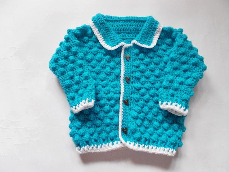 Ganchillo De Etsy Suéter Cardigan Chaqueta Del Azul Bebé 517nwwqfI