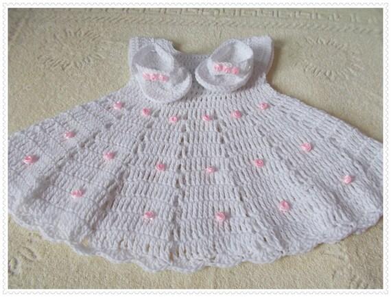 Weiße Baby Kleid häkeln Baby set häkeln Baby Flip-Flops weiße | Etsy