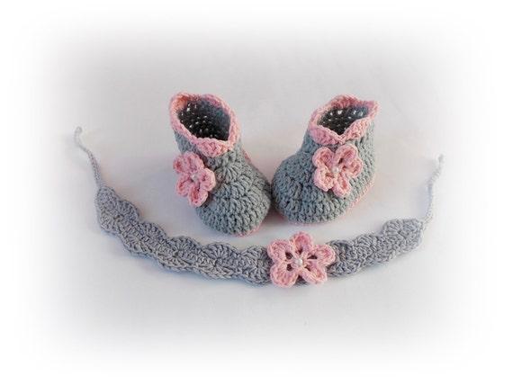 Kostenloser Versand Häkeln Babyschuhe Grau Stirnband Set Etsy