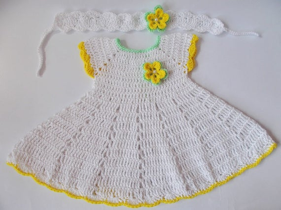 Häkeln Baby Kleid Neugeborenen Kleider Weiße Gelbe Baby Etsy