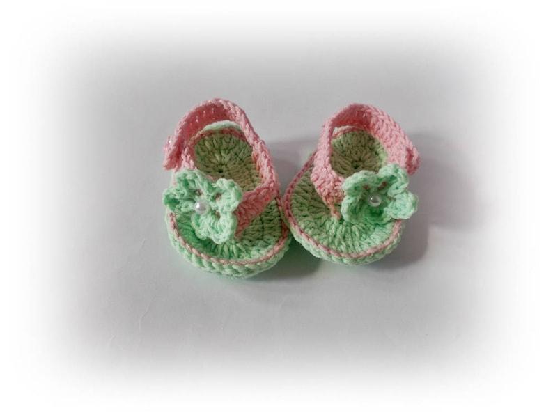 824bf4006bdbb Green crochet baby set flip flops headband Crochet Flip Flops Baby headband  Green pink sandals Newborn set headband Baby Shoes Sandles