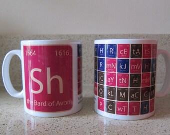 Shakespeare Mug,  Shakespeare fan, Literature Mug, Writer Mug, Author Gift, Shakespeare, Periodic table, Shakespeare gift, Shakespeare geek