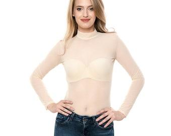 97aa37054ee3b6 Women Mesh Bodysuit Nude color Top Blouse Flesh Leotard Fine Sexy Body Suit  Tulle Top Long Sleeve turtleneck Luxury Lingerie