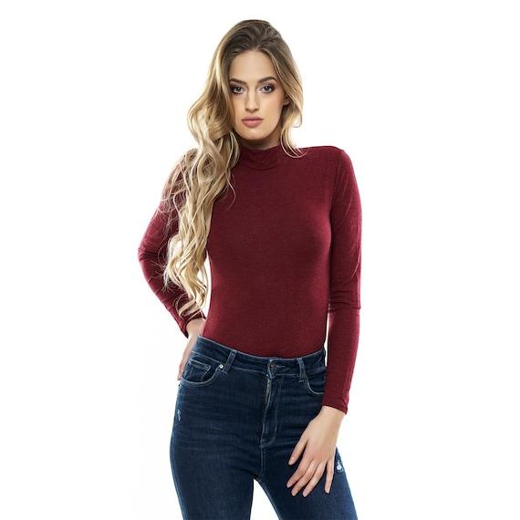 Women Solid Color Long Sleeve Turtleneck Shapewear Bodysuit Leotard Top