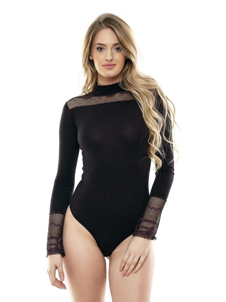 b766af090498 Women Long Sleeve Lace Bodysuit Top Blouse Leotard Beautiful