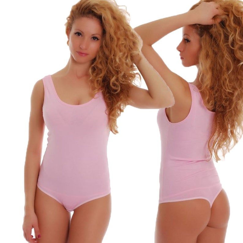 Women Pink Bodysuit Sleeveless Tank Top Bodysuit Ballet Bodie  68a33637d
