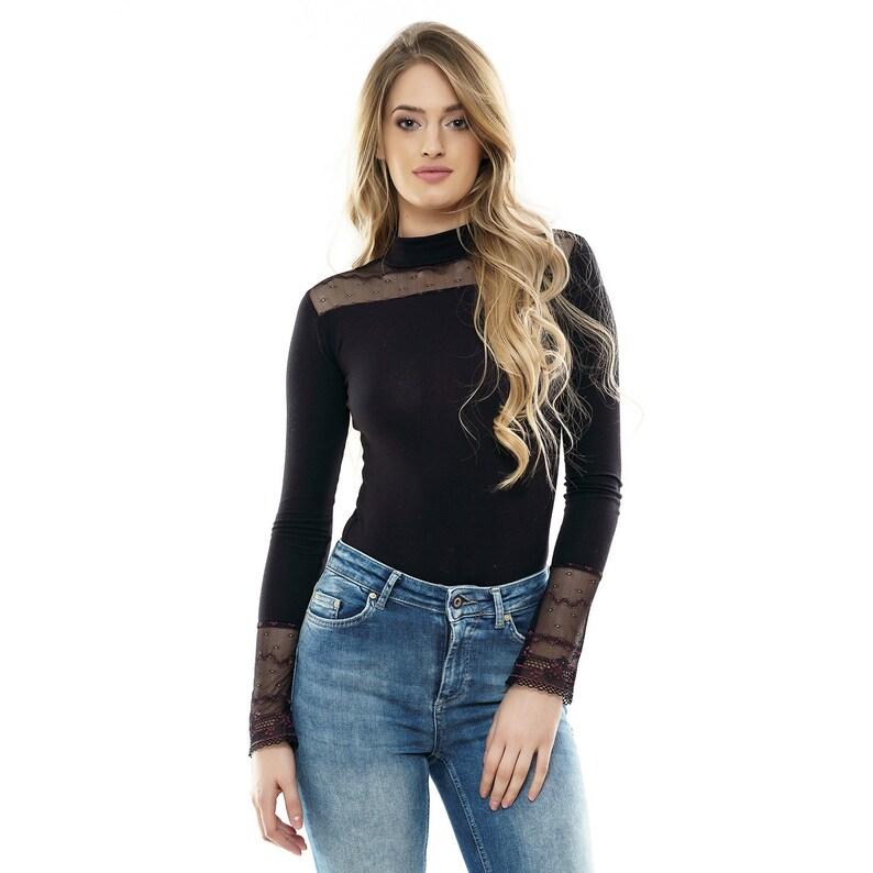 b3bde76685da Long Sleeve Lace Bodysuit Top Blouse women leotard