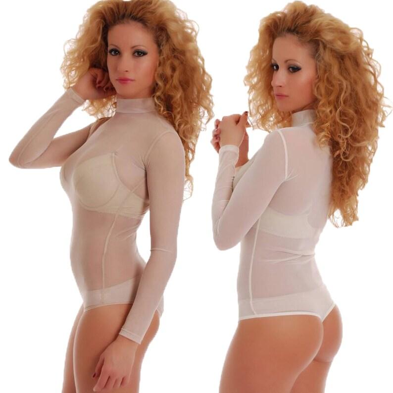 ebee8794e7 Women Mesh Bodysuit Nude color Top Blouse Flesh Leotard Fine