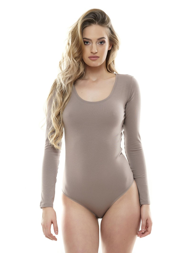 05013ef792 Long Sleeve Bodysuit COTTON BODYSUIT Womens Top Blouse Round