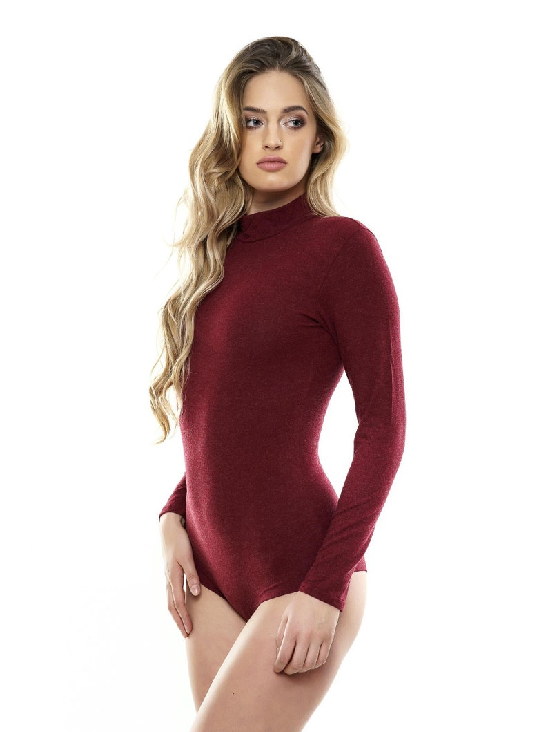 d63c8118a72a WOOL Bodysuit Bordeaux color Leotard Women Body Suit Long