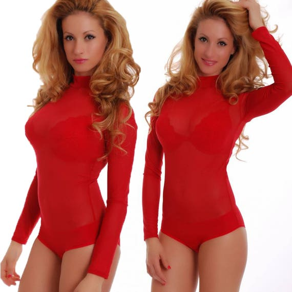 Women Red Mesh Bodysuit Thong Leotard Fine Lace Net Body Suit  f1027cfd04ae