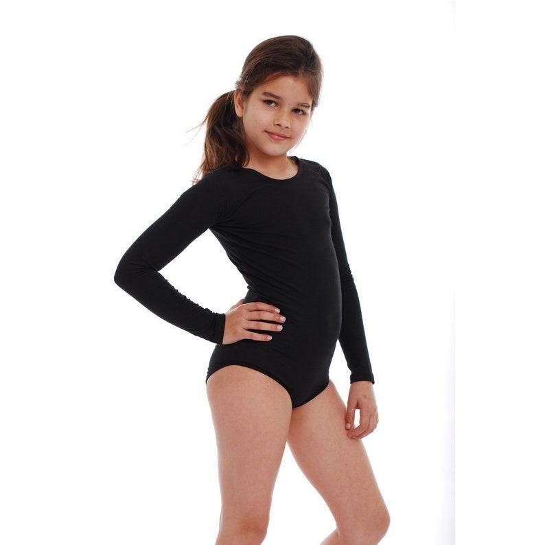 2888bafda80 Black Leotard Dancewear   Girl Bodysuit Ballet Cotton Long