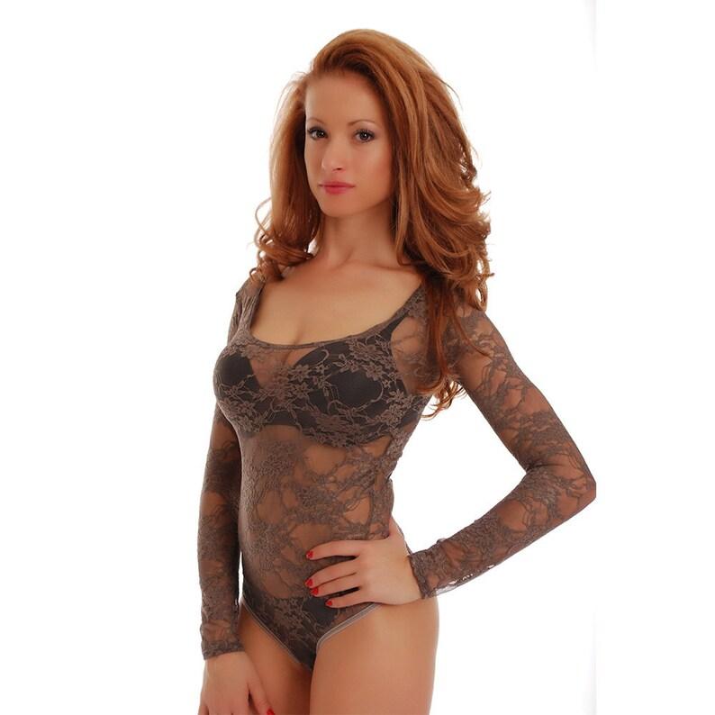 3e6ba8e8fa Women Bodysuit Mesh Blouse Sexy Floral Lace Thong Leotard Body Suit Tulle  Top ro... Women Bodysuit Mesh Blouse Sexy Floral Lace Thong Leotard Body  Suit ...