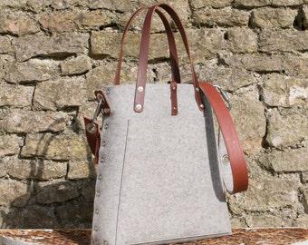 Tote bag with cross body strap, market bag, felt tote bag, shopper bag, gift for her bags & purses