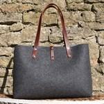 Felt Shoulder Bag, wool felt handbag for women. leather and felt purse for every day bag.