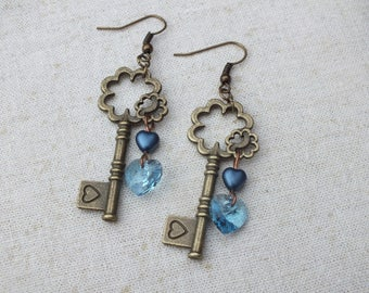 Bronze and blue key earrings, love earrings, blue heart earrings, Steampunk earrings, Swarovski heart earrings