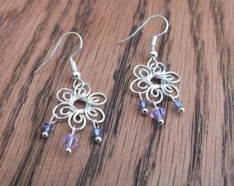 Silver flower earrings, purple Swarovski earrings, summer earrings