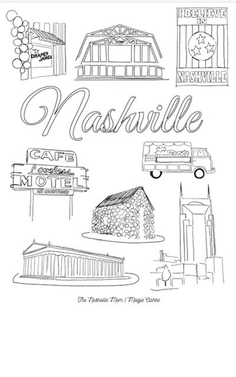 Nashville Coloring Page Set image 0