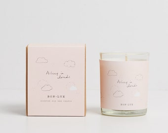 a favourite gift! ASLEEP IN CLOUDS 'pastel' scented soy wax candle-glass votive + illustrated gift box, a sunny breeze through fresh linen b