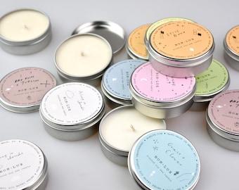 BON LUX scented soy wax travel tin 4-8hr burn, 8 unique perfume choices