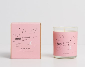 romantic gift! BONNE NUIT scented soy wax candle- glass votive + illustrated gift box, violet, peppercorns + oakmoss by bon lux