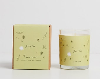 Australian scented gift! POLLEN scented soy wax candle- glass votive + illustrated gift box, wattle blossom + eucalyptus by bon lux