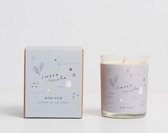 SWEET SMOKE scented soy wax candle-glass votive + illustrated gift box, campfire smoke, honey + spice, by bon lux