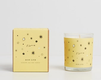 FLORA scented soy wax candle- glass votive + illustrated gift box, daffodil, lily of the valley + cut grass by bon lux