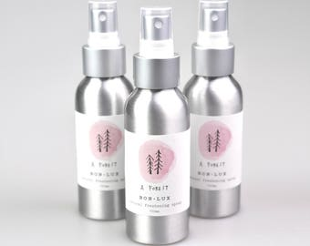 gift idea! A FOREST freshening fabric/room spray, botanical perfume of essential oils, 100ml atomiser bottle by bon lux