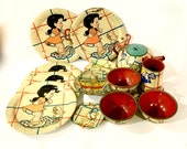 Vintage Ohio Art Tea Set, Ducky Bath Time, Illustrator Elaine Ends Hileman, includes 20 pieces, Child 39 s Tin Tea Set, 1940s