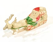 Antique Santa in Sleigh Reindeer Toy, Vintage Celluloid Plastic Viscoloid, Paper Label, Made in Japan 1920s