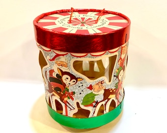 vintage christmas santa elves carousel candy box gift box christmas decor elves reindeer frosty the snowman red green 1970