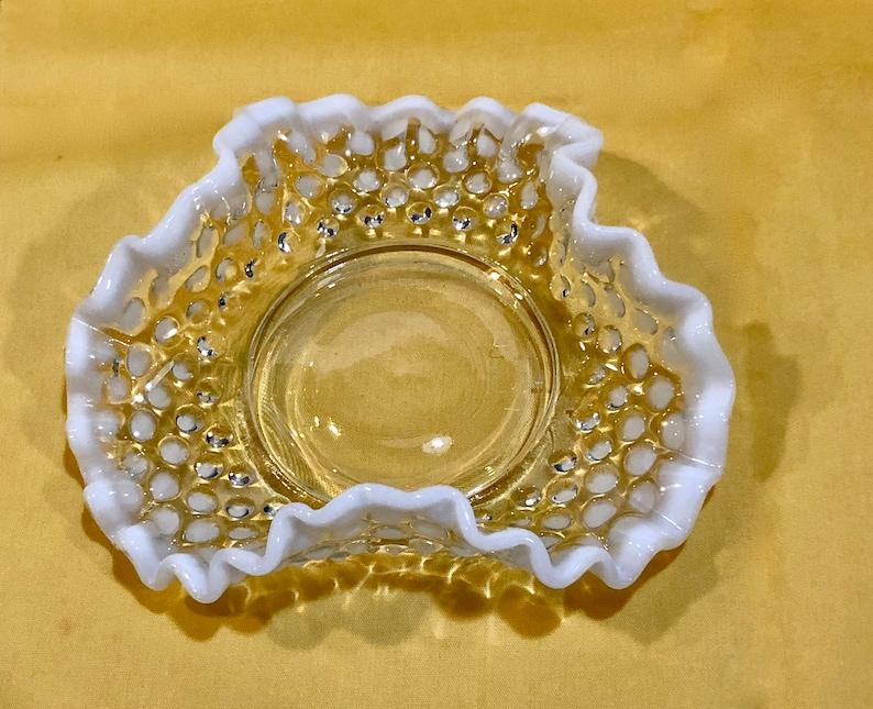 Art Glass Just Vintage Fenton Moonstone Opalescent Hobnail Glass Bowls Glass