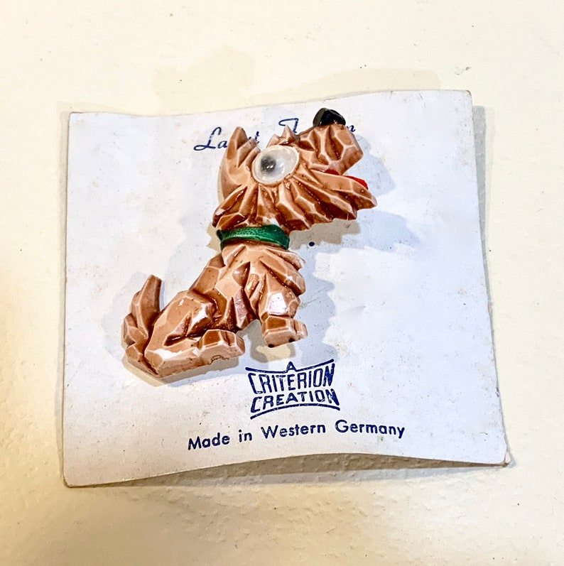 Mid Century Jewelry Made in West Germany 1960s Novelty Dog Brooch anthropomorphic Original Card Googly Eye