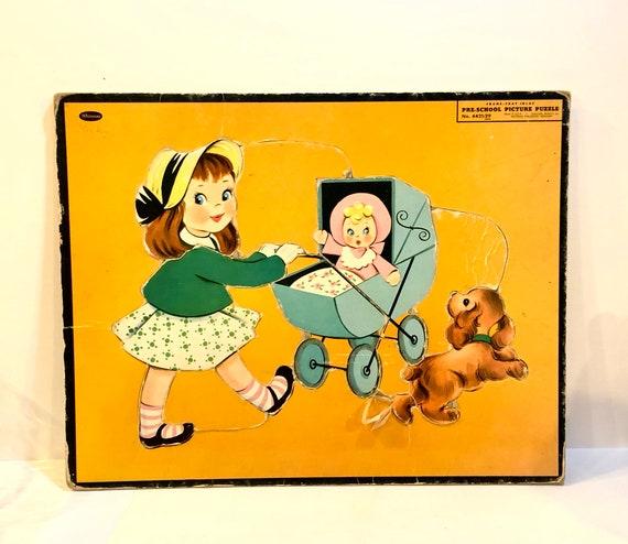 Vintage 1950 Puzzle, jouets préscolaire, petite fille ...