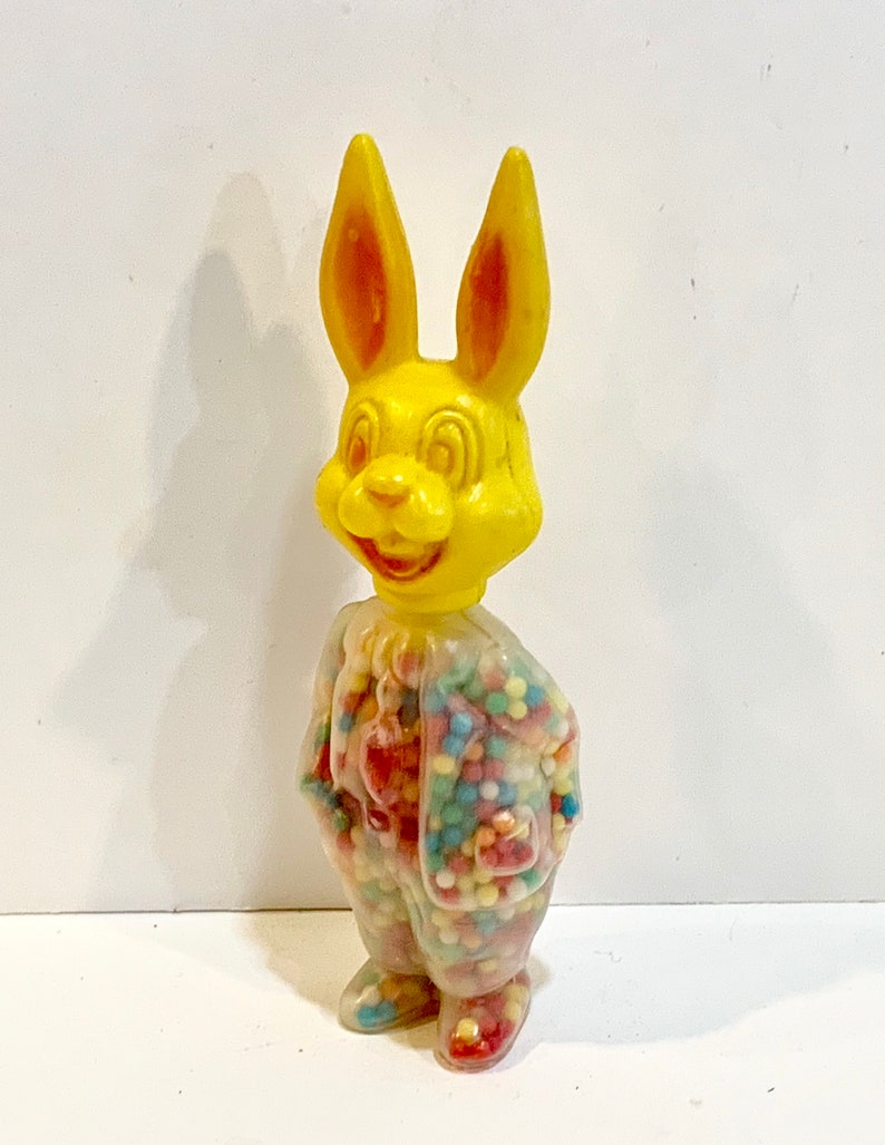 Hong Kong 1960s Mid Century Holiday Candy Holder Yellow Rabbit Easter Toy Vintage Rosbro Bunny
