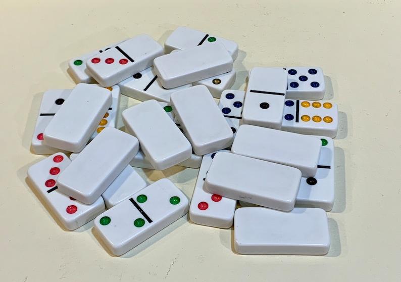 Red  Vinyl Case 1960s Game Set Harris Taiwan Vintage Domino Set Double Six Set of 28 Jumbo Color Dot