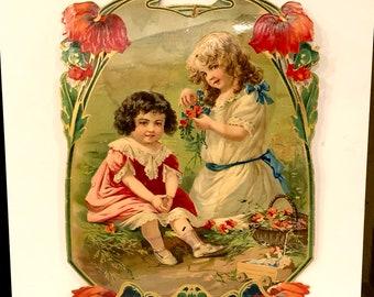 Antique Victorian Calendar Top, Children, Poppies, Litho Color, Edwardian Die Cut Calendar, Art Print, Vintage Ephemera, Large 10 x 14 inch