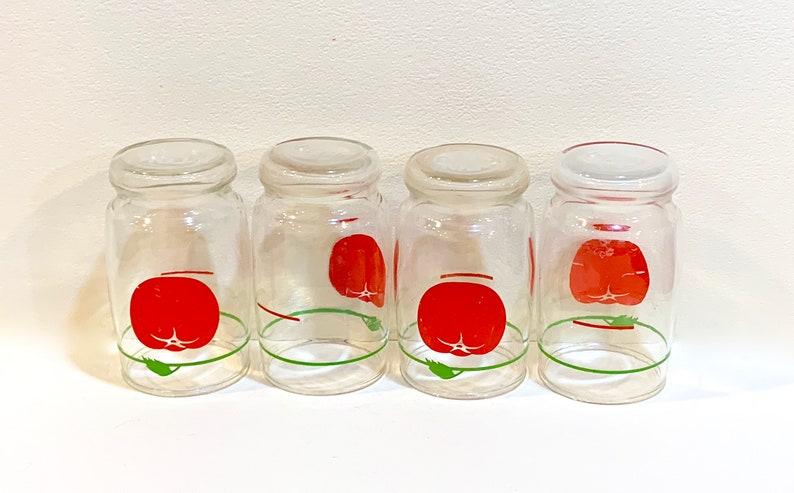 Farmhouse Kitchen Advertising Premium Set of Four 4 inch Mid Century Tomato Juice Vintage 1960s Swanky Swigs