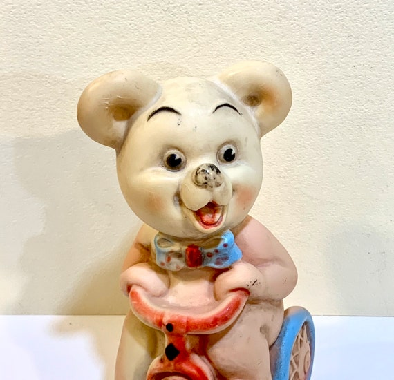 Dreamland Creations 1958 Vintage Dreamland Rubber Squeak Toy 1958 8 x 5 Roller Skating Bear