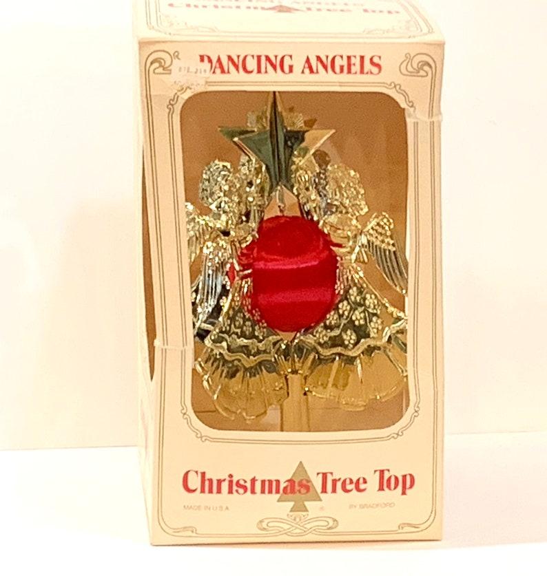 USA Mid Century Holiday Original Box Dancing Angels Plastic Angels Vintage Christmas Angels Tree Topper Bradford Celestial