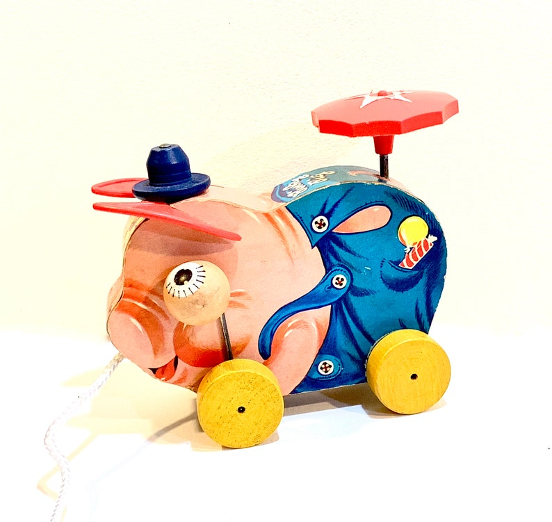 Vintage Fisher Price Pig Pinky No 695 First Version 1956 Nursery Decor Mid Century Toy Wood Pull Toy