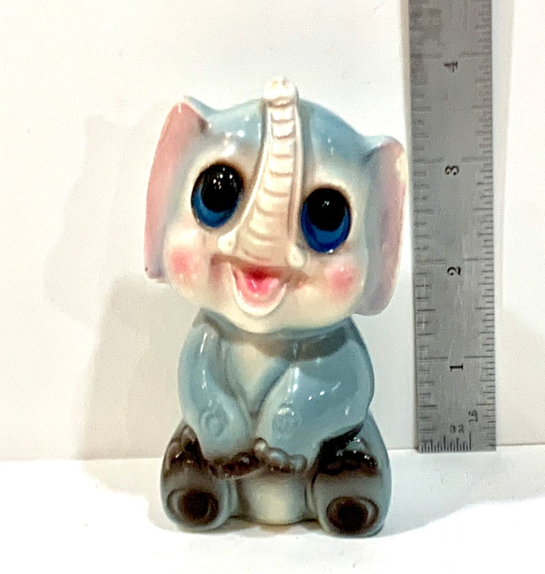 Baby Elephant Big Eye Elephant Mid Century 1960s Keane Enesco Ceramic Figurine Kitschy Elephant Made in Japan