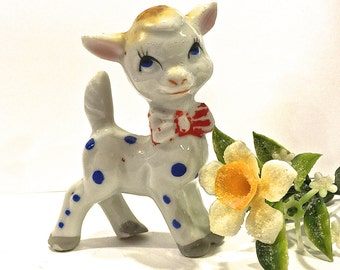 Clearance Sale, Blue Polka Dot Fawn, Deer Figurine, Ceramic Deer, Spotted Fawn with Bow Tie, Nursery Decor, Collectible Fawn, Retro, 1960s