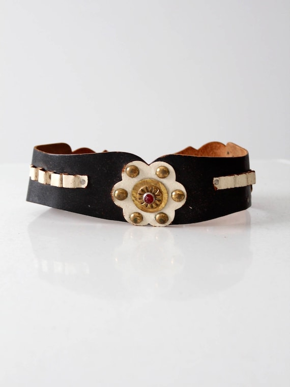 vintage children's leather belt, kid's studded bel